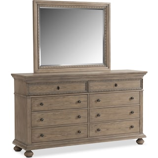 Langham 8-Drawer Dresser and Mirror - Natural