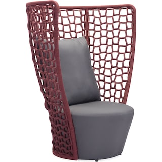 Presli Outdoor Chair - Cranberry and Gray
