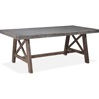 Santo Outdoor Farmhouse Dining Table - Cement and Natural