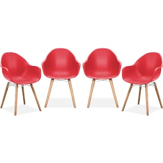 Troon Set of 4 Outdoor Dining Chairs - Red