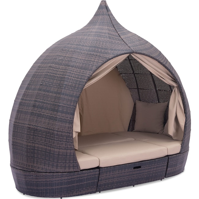 Outdoor Furniture - Reena Outdoor Daybed - Brown and Beige