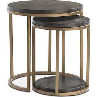Malibu 2-Piece Nesting Tables - Wood - Umber