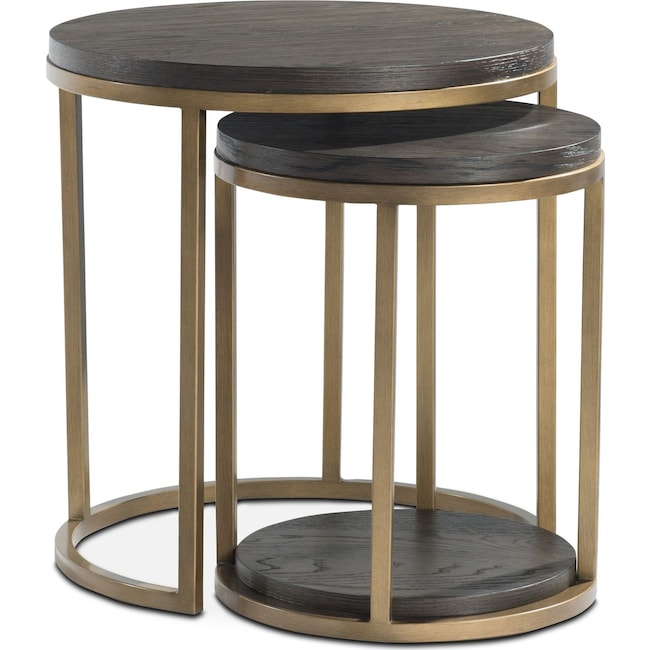 Accent and Occasional Furniture - Malibu 2-Piece Nesting Tables - Wood - Umber