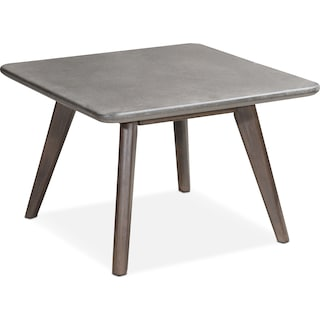 Zelda Outdoor Cocktail Table - Cement and Walnut