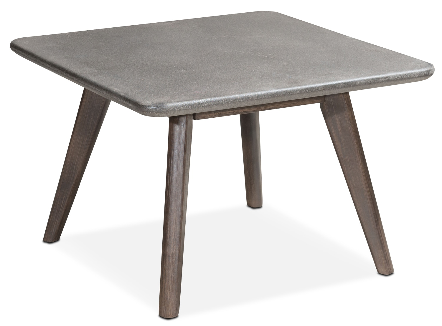 Zelda Outdoor Cocktail Table   Cement And Walnut