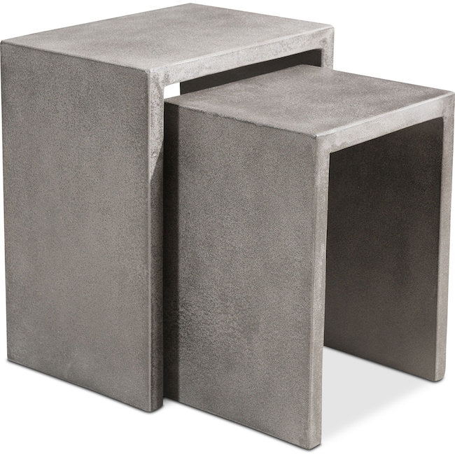 Outdoor Furniture - Zelda Outdoor 2-Piece Nesting Side Tables - Cement