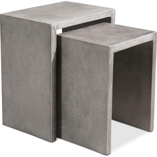Outdoor Furniture - Zelda Outdoor Set of 2 Nesting Side Tables - Cement