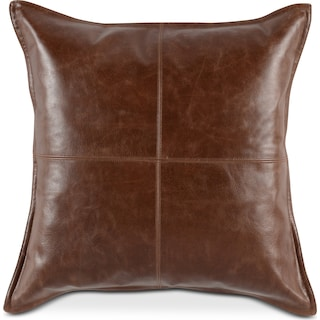 Brown Leather Decorative Pillow