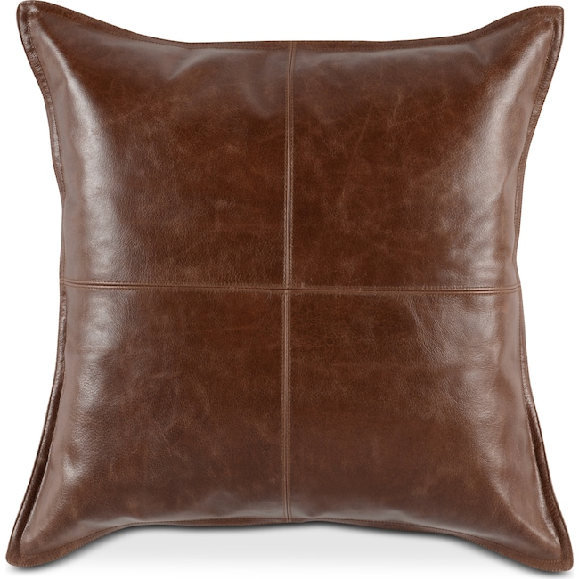 Accent and Occasional Furniture - Brown Leather Decorative Pillow