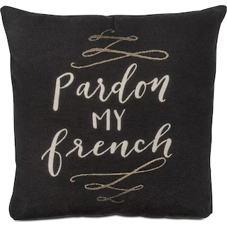 Pardon My French Decorative Pillow - Charcoal