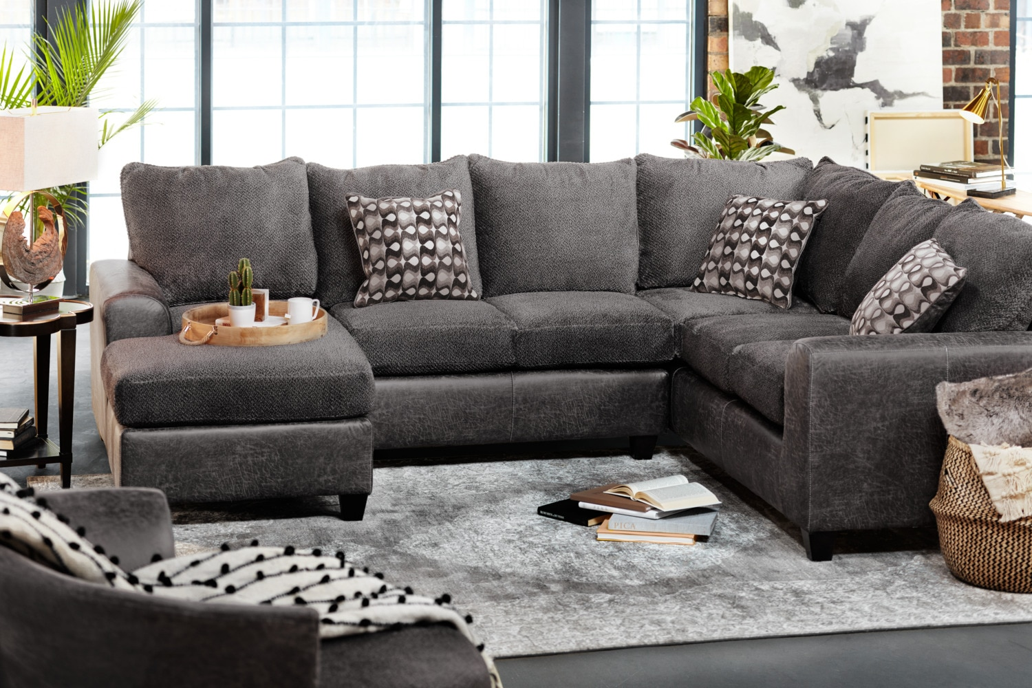 Brando 3 Piece Sectional With Modular Chaise Smoke
