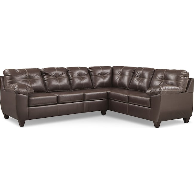 Living Room Furniture - Ricardo 2-Piece Memory Foam Sleeper Sectional with Right-Facing Sofa - Brown