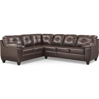 Ricardo 2-Piece Memory Foam Sleeper Sectional with Left-Facing Sofa - Brown