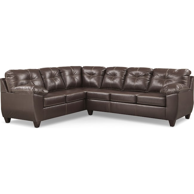 Living Room Furniture - Ricardo 2-Piece Memory Foam Sleeper Sectional with Left-Facing Sofa - Brown