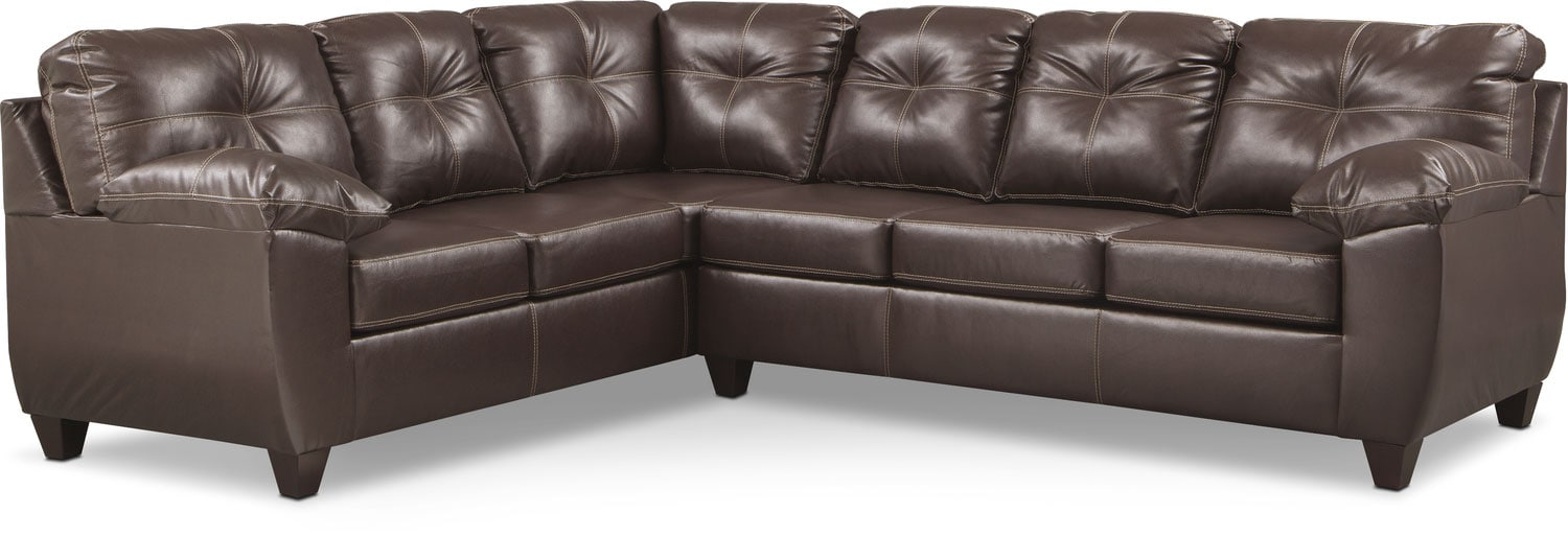 Ricardo 2 Piece Memory Foam Sleeper Sectional With Left Facing Sofa   Brown