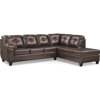 Ricardo 2-Piece Memory Foam Sleeper Sectional with Right-Facing Chaise - Brown