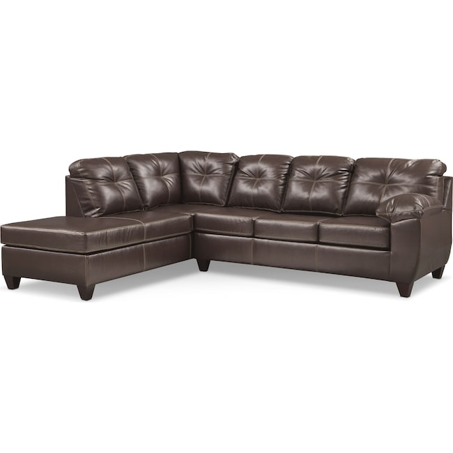 Living Room Furniture - Ricardo 2-Piece Memory Foam Sleeper Sectional with Left-Facing Chaise - Brown