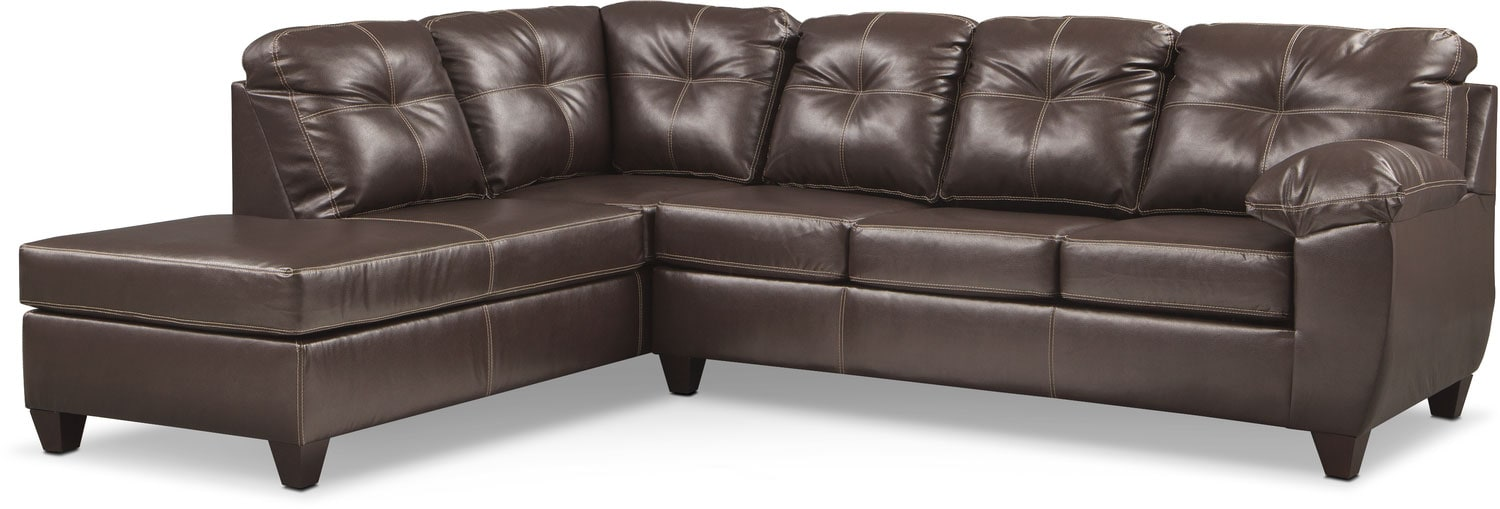 Ricardo 2 Piece Memory Foam Sleeper Sectional With Left Facing Chaise    Brown