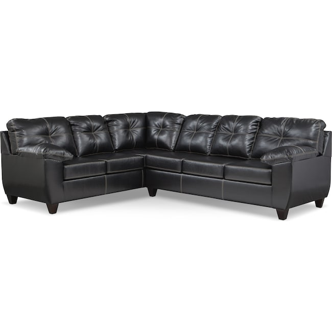 Living Room Furniture - Ricardo 2-Piece Memory Foam Sleeper Sectional with Left-Facing Sofa - Onyx