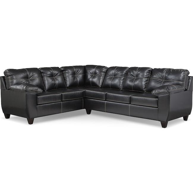 Living Room Furniture - Ricardo 2-Piece Memory Foam Sleeper Sectional with Left-Facing Sofa - Onyx