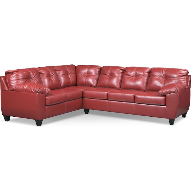 Living Room Furniture - Ricardo 2-Piece Memory Foam Sectional with Left-Facing Sofa - Cardinal