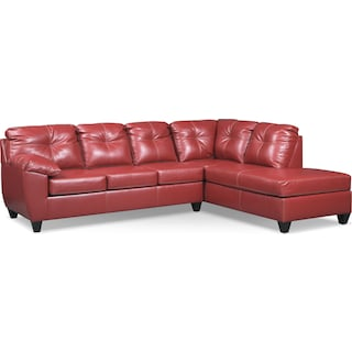 Ricardo 2-Piece Memory Foam Sleeper Sectional with Right-Facing Chaise - Cardinal