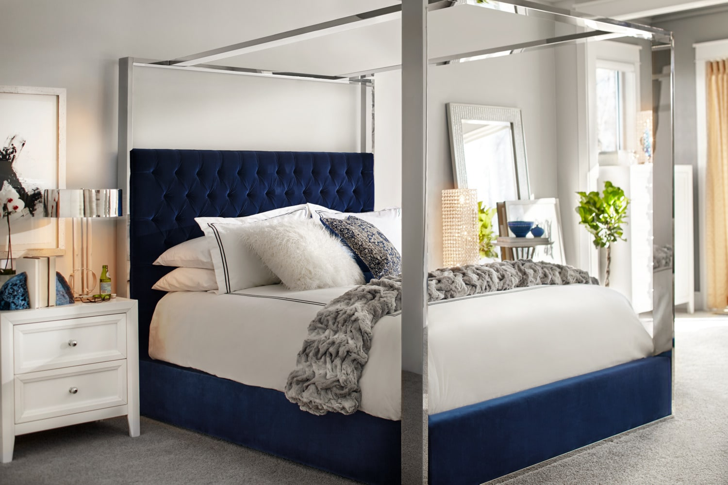 presley king canopy bed - blue | value city furniture and mattresses