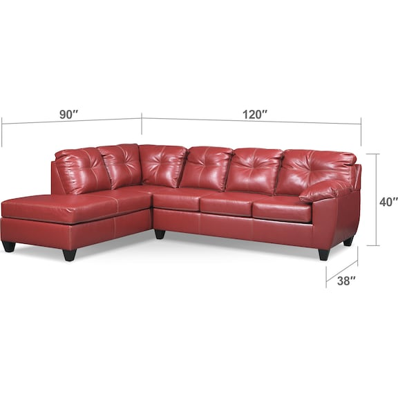 Living Room Furniture - Ricardo 2-Piece Memory Foam Sleeper Sectional with Left-Facing Chaise - Cardinal