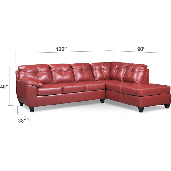 Living Room Furniture - Ricardo 2-Piece Memory Foam Sleeper Sectional with Right-Facing Chaise - Cardinal
