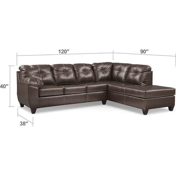 Living Room Furniture - Ricardo 2-Piece Memory Foam Sleeper Sectional with Right-Facing Chaise - Brown