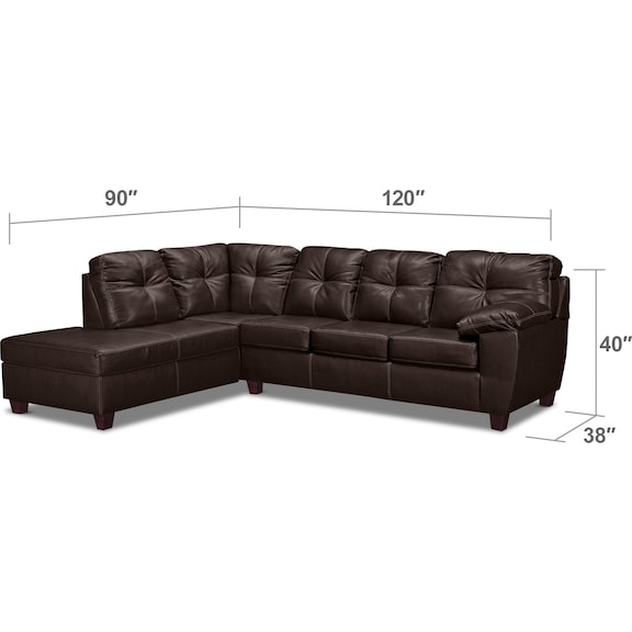 Living Room Furniture - Ricardo 2-Piece Innerspring Sleeper Sectional with Left-Facing Chaise - Brown