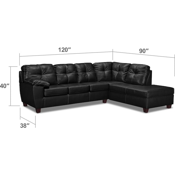 Living Room Furniture - Ricardo 2-Piece Innerspring Sleeper Sectional with Right-Facing Chaise - Onyx