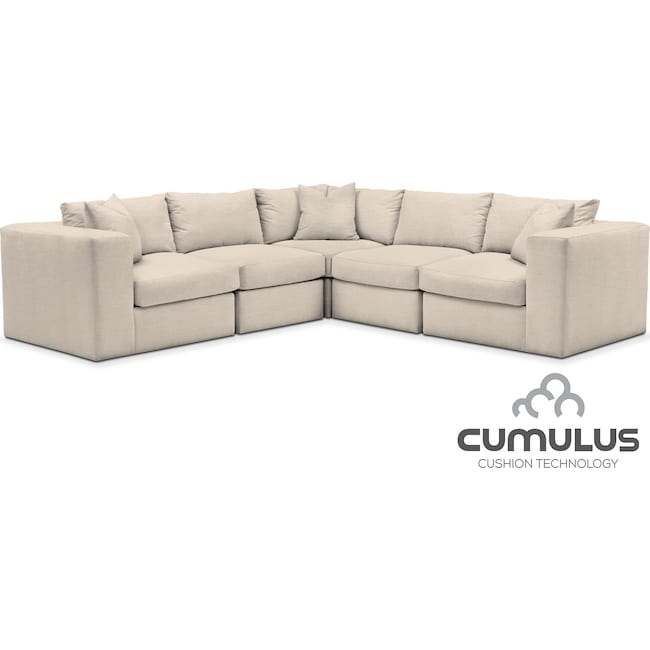 Living Room Furniture - Collin Cumulus 5-Piece Sectional - Curious Pearl