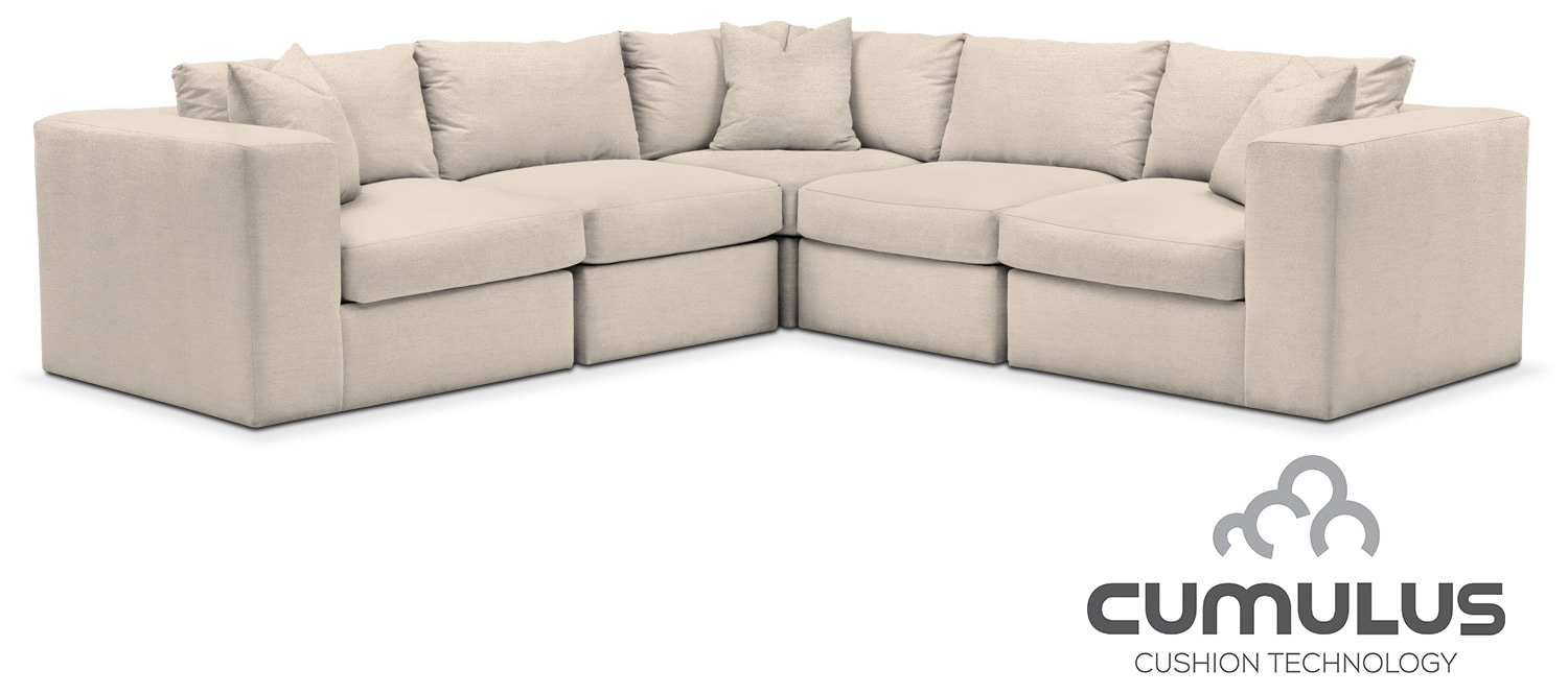 Living Room Furniture   Collin Cumulus 5 Piece Sectional   Curious Pearl