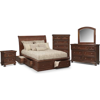 Hanover 7 Piece Queen Storage Bedroom Set Cherry