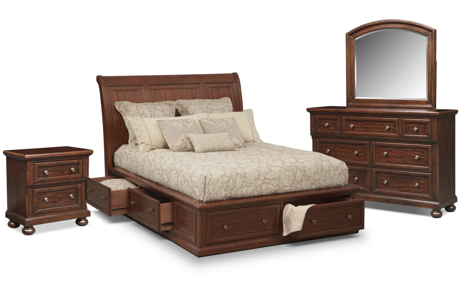 Bedroom Furniture - Hanover 6-Piece Storage Bedroom Set with Nightstand, Dresser and Mirror