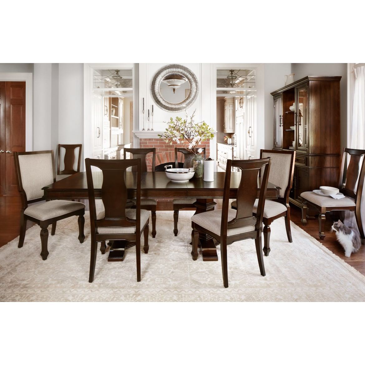 Dining Room Table For 2: Vienna Dining Table, 6 Side Chairs And 2 Upholstered Side