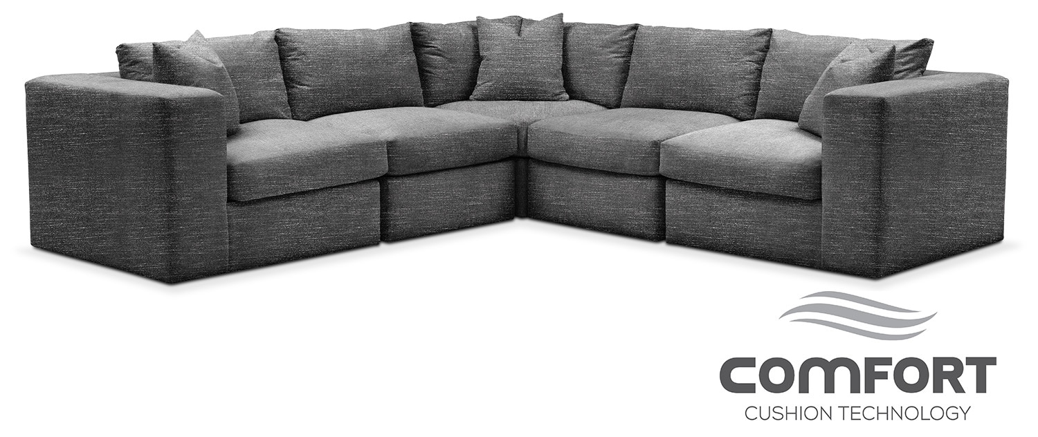 Collin Comfort 5 Piece Sectional Curious Charcoal