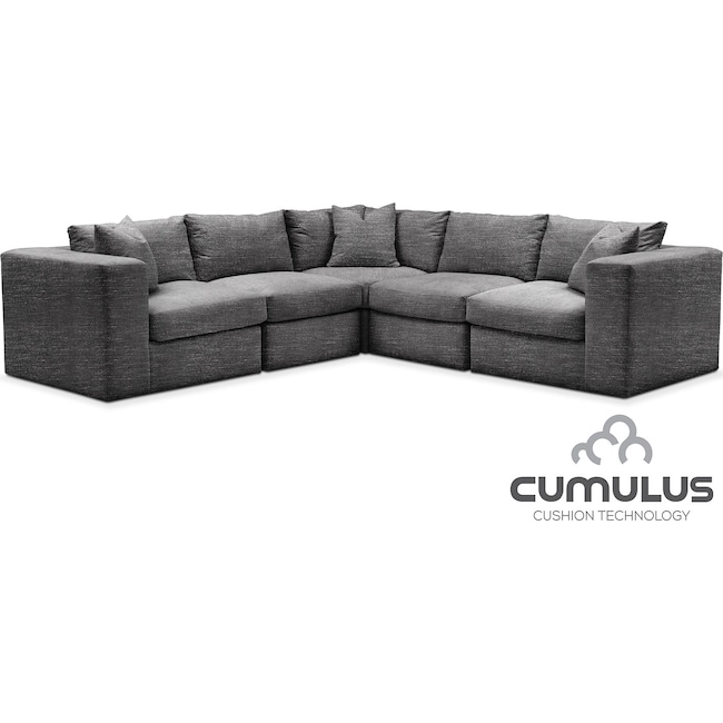 Living Room Furniture - Collin Cumulus 5-Piece Sectional - Curious Charcoal