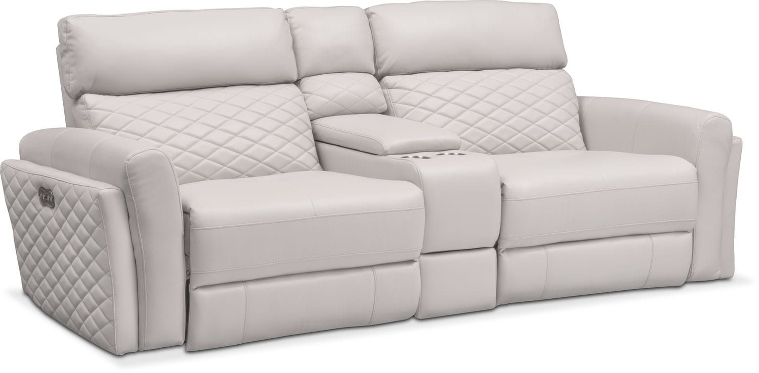 Catalina 3 Piece Power Reclining Sofa With Console   Ivory