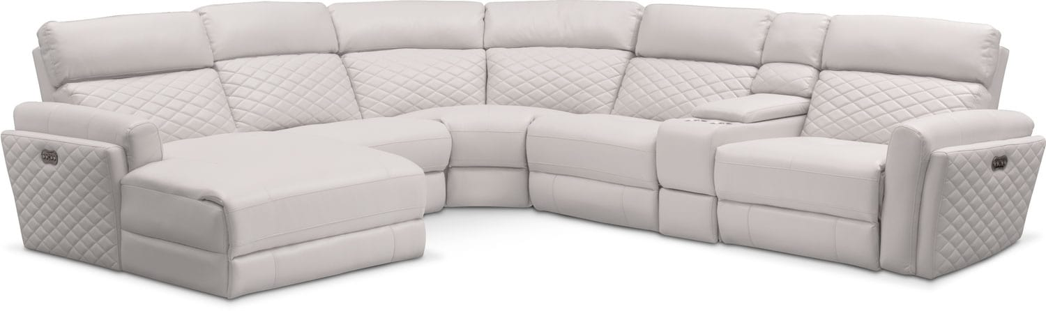 Catalina 6-Piece Power Reclining Sectional with Left-Facing Chaise and 2 Recliners -  sc 1 st  Value City Furniture : reclining sectional with chaise - islam-shia.org