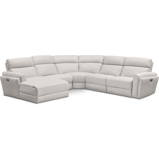 Catalina 5-Piece Power Reclining Sectional with Left-Facing Chaise and 1 Recliner - Ivory