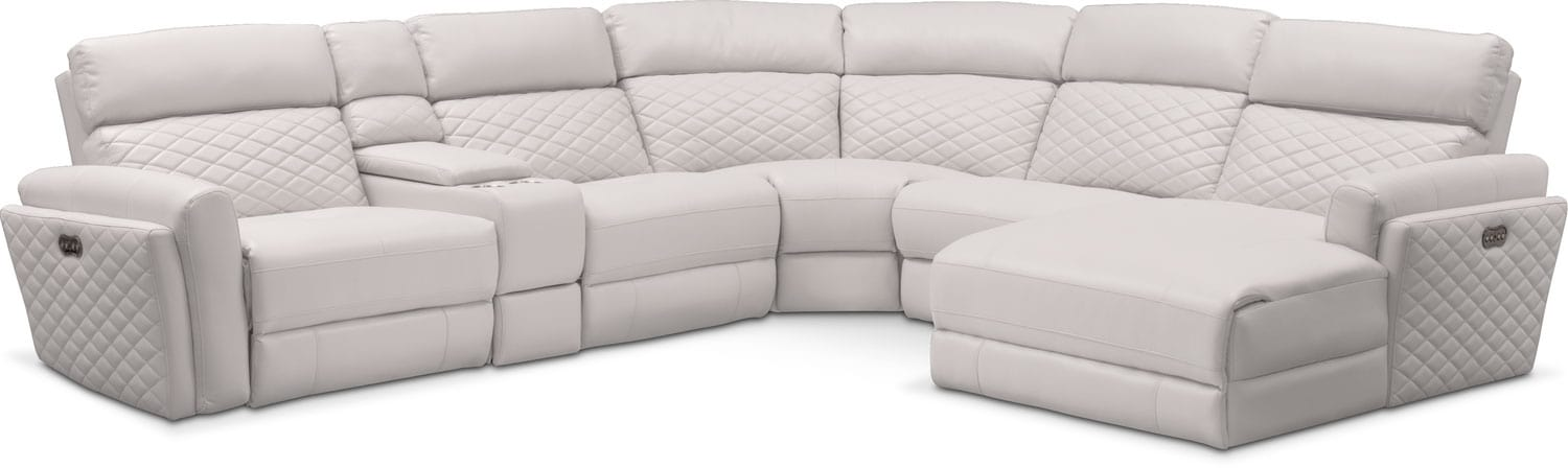 catalina 6piece power reclining sectional with rightfacing chaise and 1 recliner