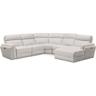 Catalina 5-Piece Power Reclining Sectional with Right-Facing Chaise and 1 Recliner - Ivory