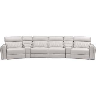 Catalina 6-Piece Power Reclining Sectional with 2 Wedge Consoles - Ivory