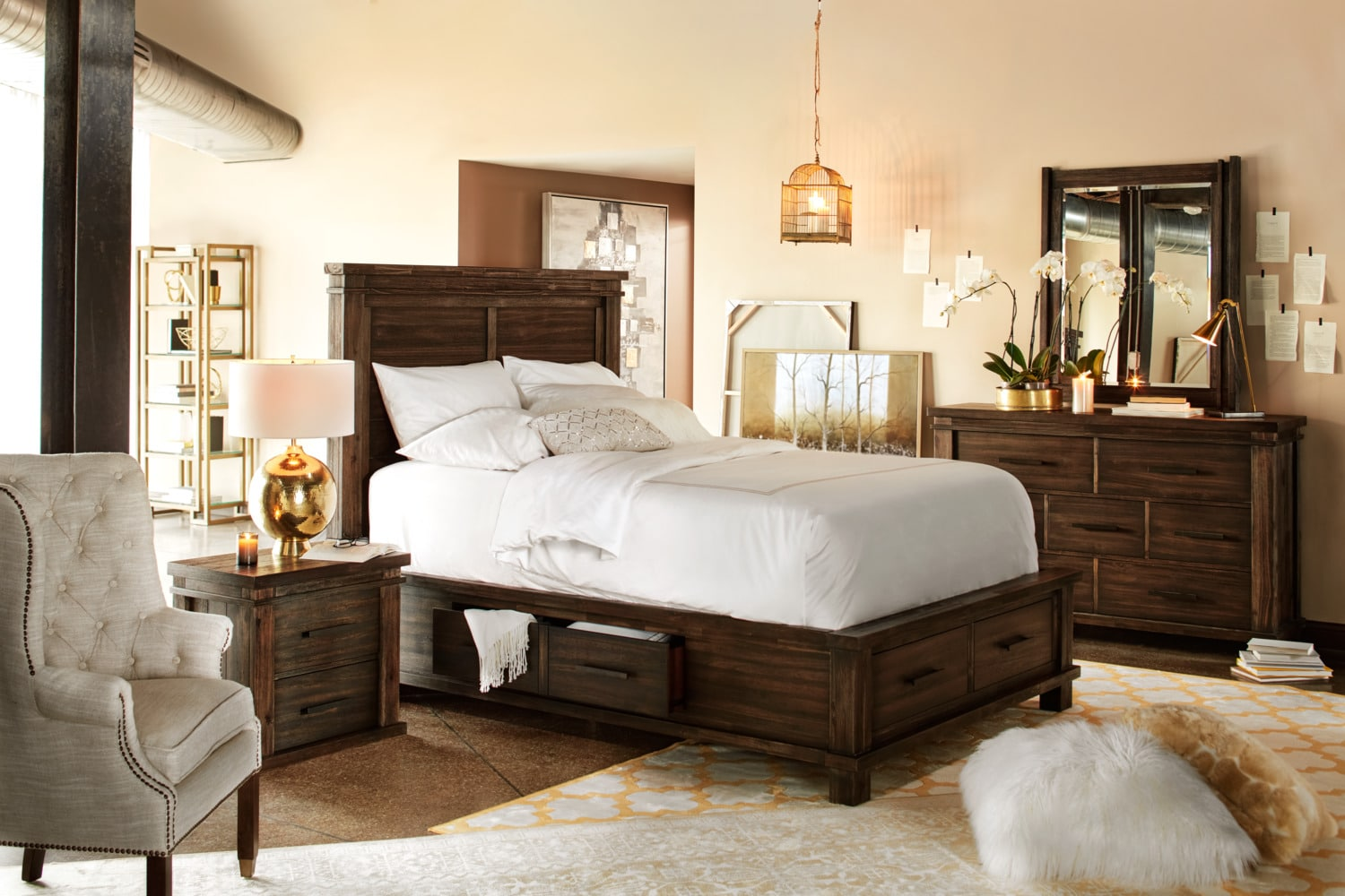 Tribeca queen storage bed w 4 underbed drawers tobacco value city furniture Queen bedroom sets with underbed storage
