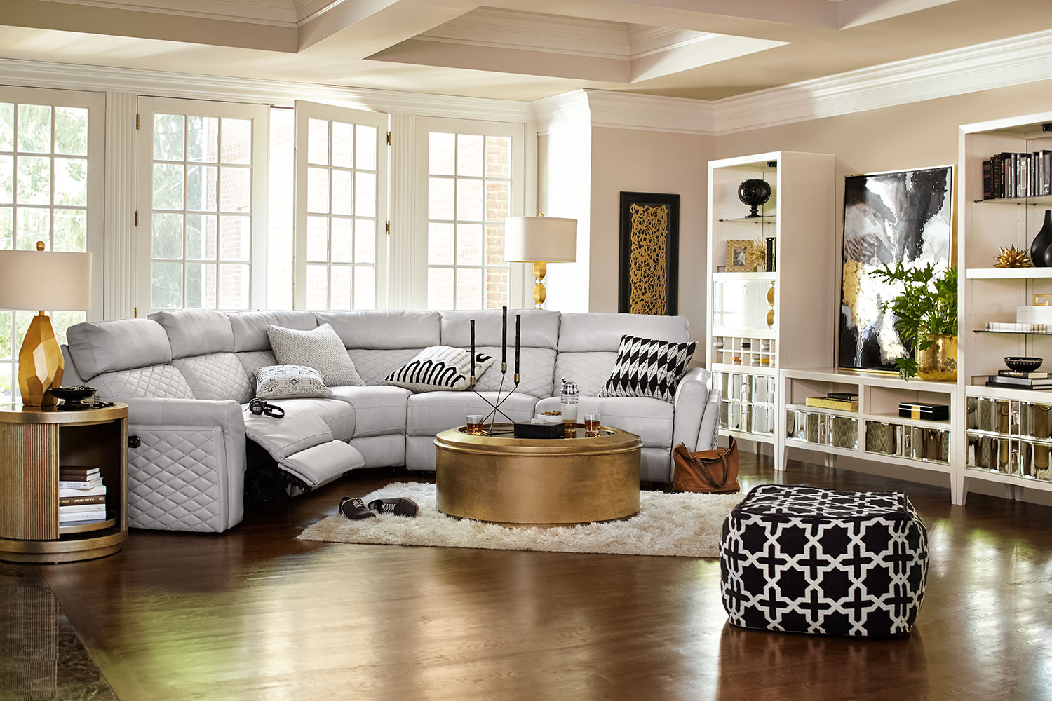 sectional lighted ivory with in v builtin p bookcase built color leather