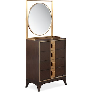 Savoy Dressing Chest and Mirror - Merlot