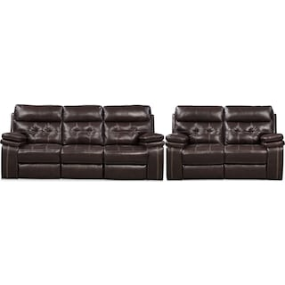 Brisco Sofa and Loveseat Set - Brown
