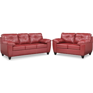 Ricardo Sofa and Loveseat Set - Cardinal